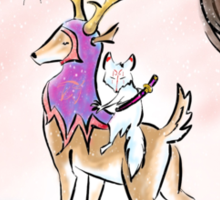 Kitsune warrior on winter's eve Sticker