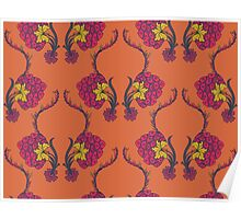 Elegance Seamless pattern with flowers ornament Poster