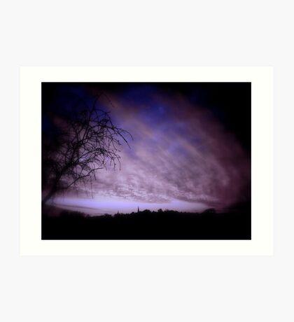Moonset Silhouette Art Print