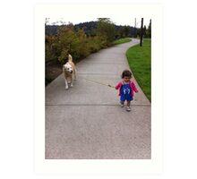 The Tiniest Dog Walker Art Print