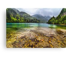 Lake in mountains, in a rainy day Canvas Print