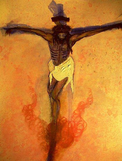Jesus on the Cross orange tint by RealPainter