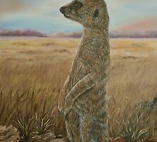 """Meerkat Sentry"" - Oil Painting by Avril Brand"