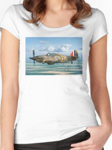 Hurricane IIc LF363 over the Fens Women's Fitted Scoop T-Shirt