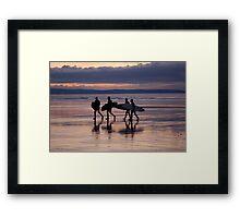 Surfers, Westward Ho!, Devon Framed Print