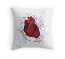 drawing of the heart, anatomical Throw Pillow