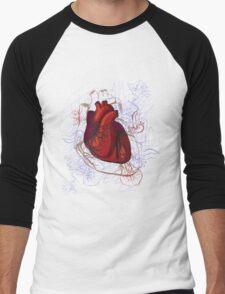 drawing of the heart, anatomical Men's Baseball ¾ T-Shirt