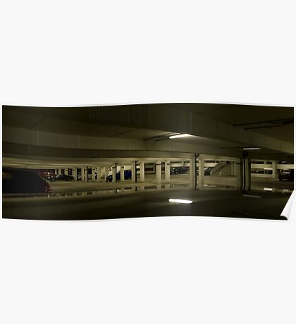 Underground Car Parking Facility at Night Poster