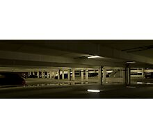 Underground Car Parking Facility at Night Photographic Print