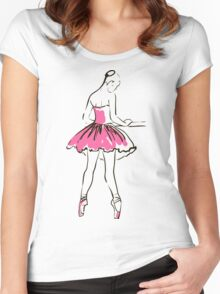 sketch of girl's ballerina  Women's Fitted Scoop T-Shirt