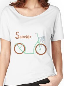 Illustration of vintage vector scooter Women's Relaxed Fit T-Shirt
