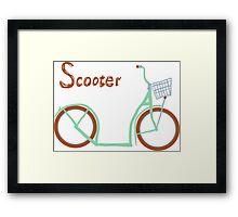 Illustration of vintage vector scooter Framed Print