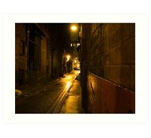 Gloomy Dark Alleyway at Night Art Print