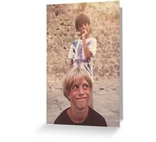 Pulling Faces Greeting Card