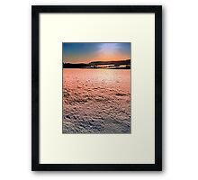 Snow, fields and a winter sunset | landscape photography Framed Print