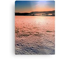 Snow, fields and a winter sunset | landscape photography Metal Print
