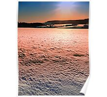 Snow, fields and a winter sunset | landscape photography Poster