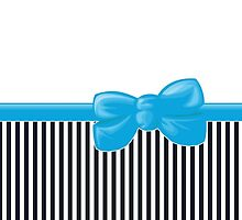 Ribbon, Bow, Stripes (Parallel Lines) - White Black Blue by sitnica