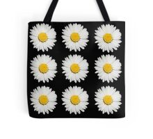 Nine Common Daisies Isolated on A Black Backgound Tote Bag