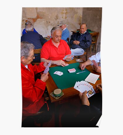 The Card Players, Sorrento, Italy Poster