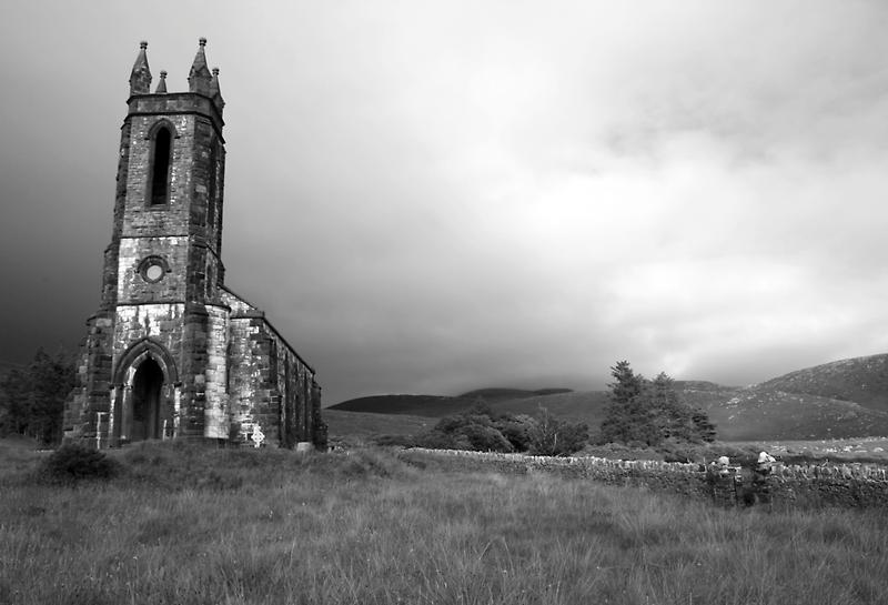 Dunlewey church black and white by John Quinn