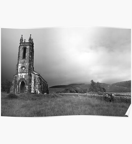 Dunlewey church black and white Poster
