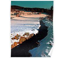 Black stream in winter wonderland | landscape photography Poster