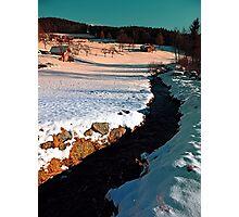 Black stream in winter wonderland | landscape photography Photographic Print