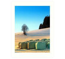 Hay bales in winter wonderland | landscape photography Art Print
