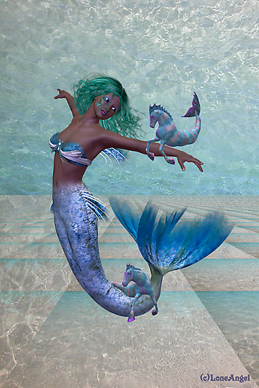 Playtime .. a joyful mermaid by LoneAngel