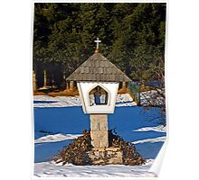 Wayside shrine in winter scenery | architectural photography Poster