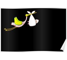 New Arrival (baby's first air trip) on black Poster
