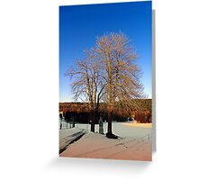 Cross with guardian trees in winter wonderland | landscape photography Greeting Card
