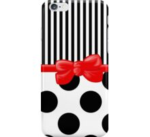 Ribbon, Bow, Polka Dots, Stripes - Black White Red iPhone Case/Skin