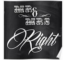 shabby chic vintage chalkboard scripts Mr and Mrs Poster