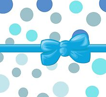 Ribbon, Bow, Dots, Spots (Dotted Pattern) - Blue White by sitnica