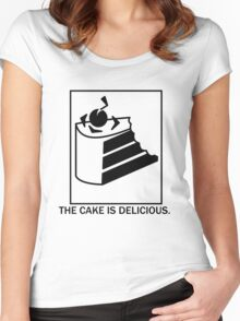 The cake is delicious. Women's Fitted Scoop T-Shirt