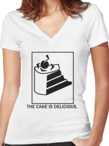 The cake is delicious. Women's Fitted V-Neck T-Shirt