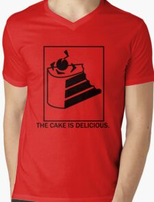 The cake is delicious. Mens V-Neck T-Shirt
