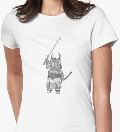 Samurai Cat Womens Fitted T-Shirt