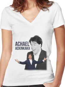 Michael McIntrye - Showtime - Achael Ackinkaka Women's Fitted V-Neck T-Shirt