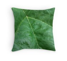 Rhubarb Leaf Macro Throw Pillow