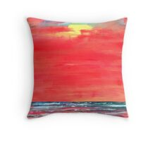 oil sun beach seascape painting Throw Pillow