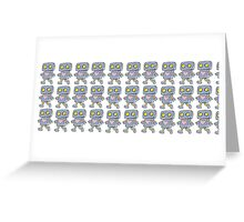 Love Robot Pattern (Blue) Greeting Card