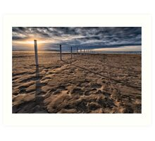 Benone Beach Posts Art Print