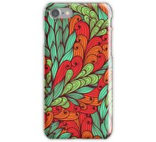 Red and blue bright doodle pattern iPhone Case/Skin