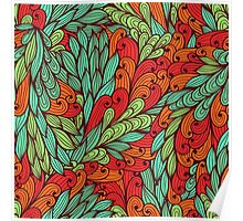 Red and blue bright doodle pattern Poster