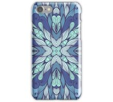 Blue hand drawn floral ornament iPhone Case/Skin