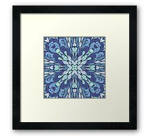 Blue hand drawn floral ornament Framed Print