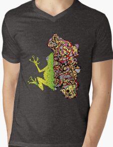 Psychedelly Frog Mens V-Neck T-Shirt